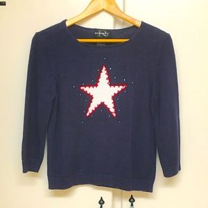 Requirements Petite Blue Sweater with Star